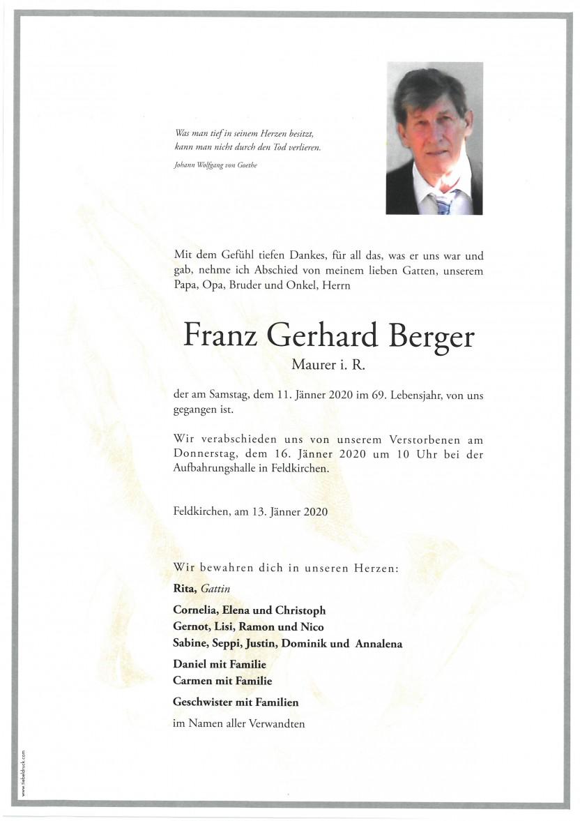 Franz Gerhard Berger, Maurer i.R., gestorben am 11.01.2020