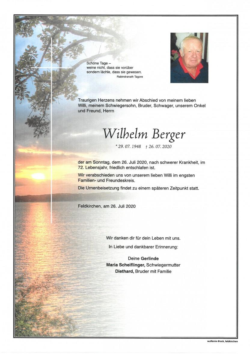Wilhelm Berger, gestorben am 26.07.2020