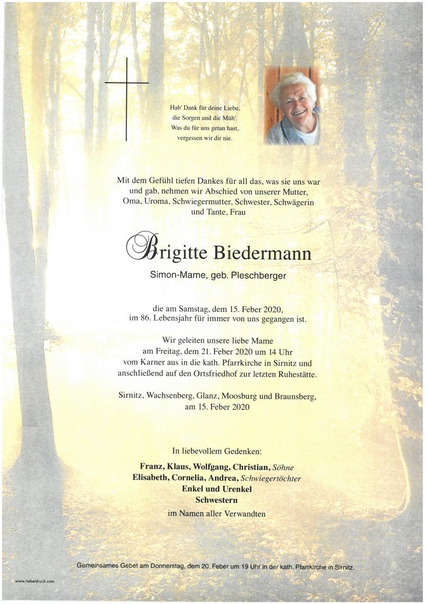 Brigitte Biedermann, Simon-Mame, gestorben am 15.02.2020