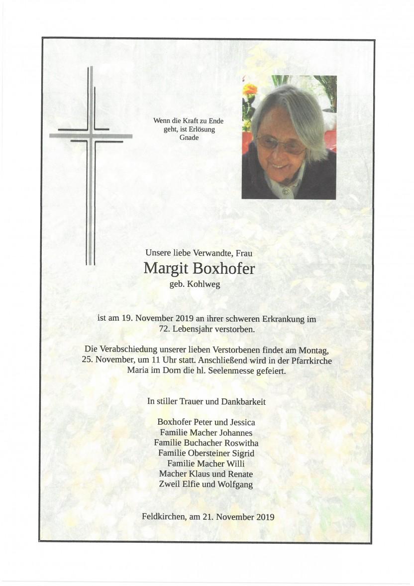 Margit Boxhofer, geb. Kohlweg, gestorben am 19.11.2019
