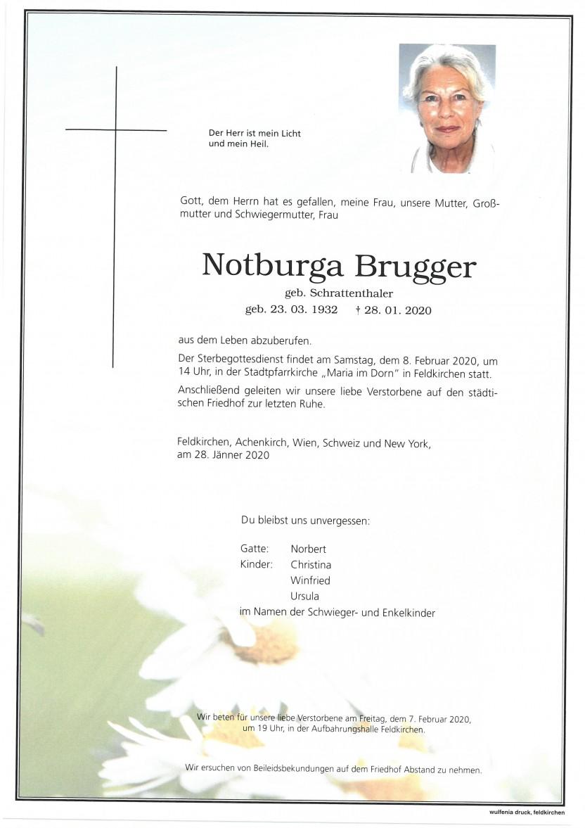 Notburga Brugger geb. Schrattenthaler, gestorben am 28.01.2020
