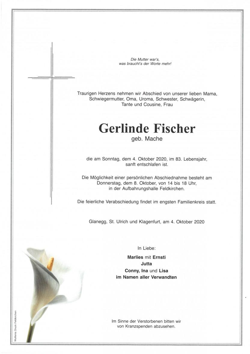 Gerlinde Fischer, gestorben am 04.10.2020