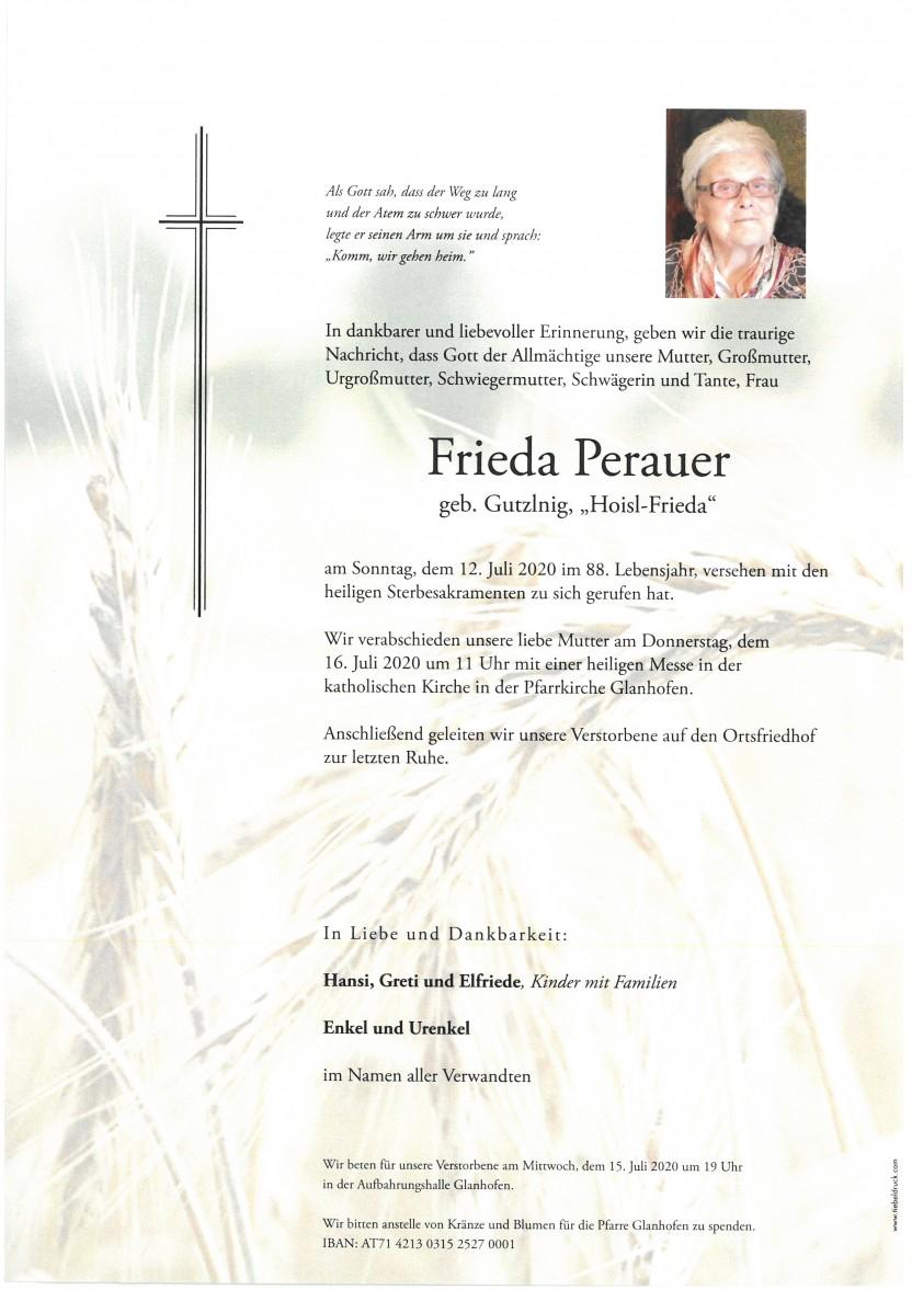 Frieda Perauer, gestorben am 12.07.2020