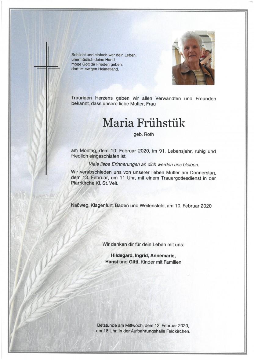 Maria Frühstük, geb. Roth, gestorben am 10.02.2020