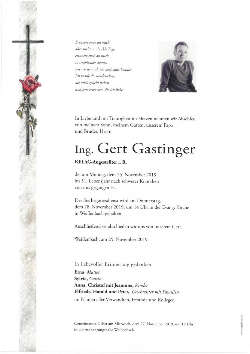 Ing. Gert Gastinger, KELAG-Angest. i.R., gestorben am 25.11.2019