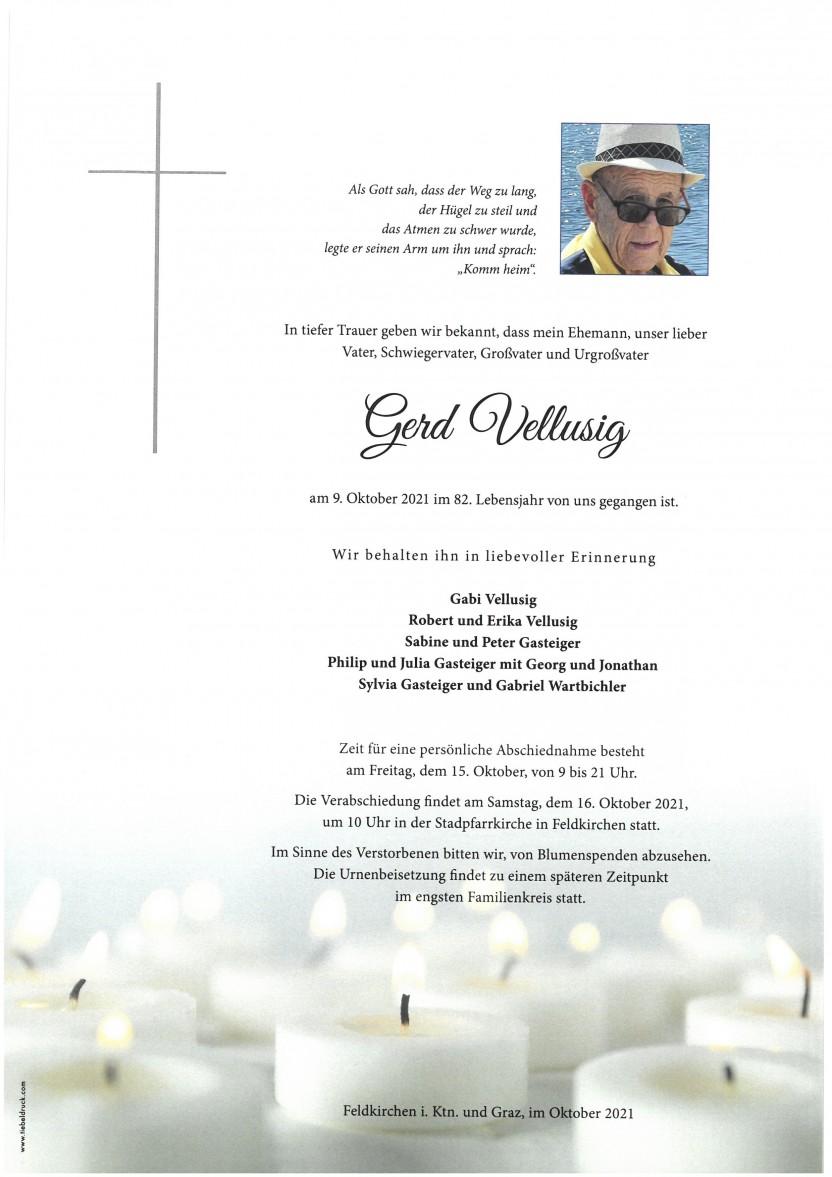 Gerd Vellusig,gestorben am 09.10.2021