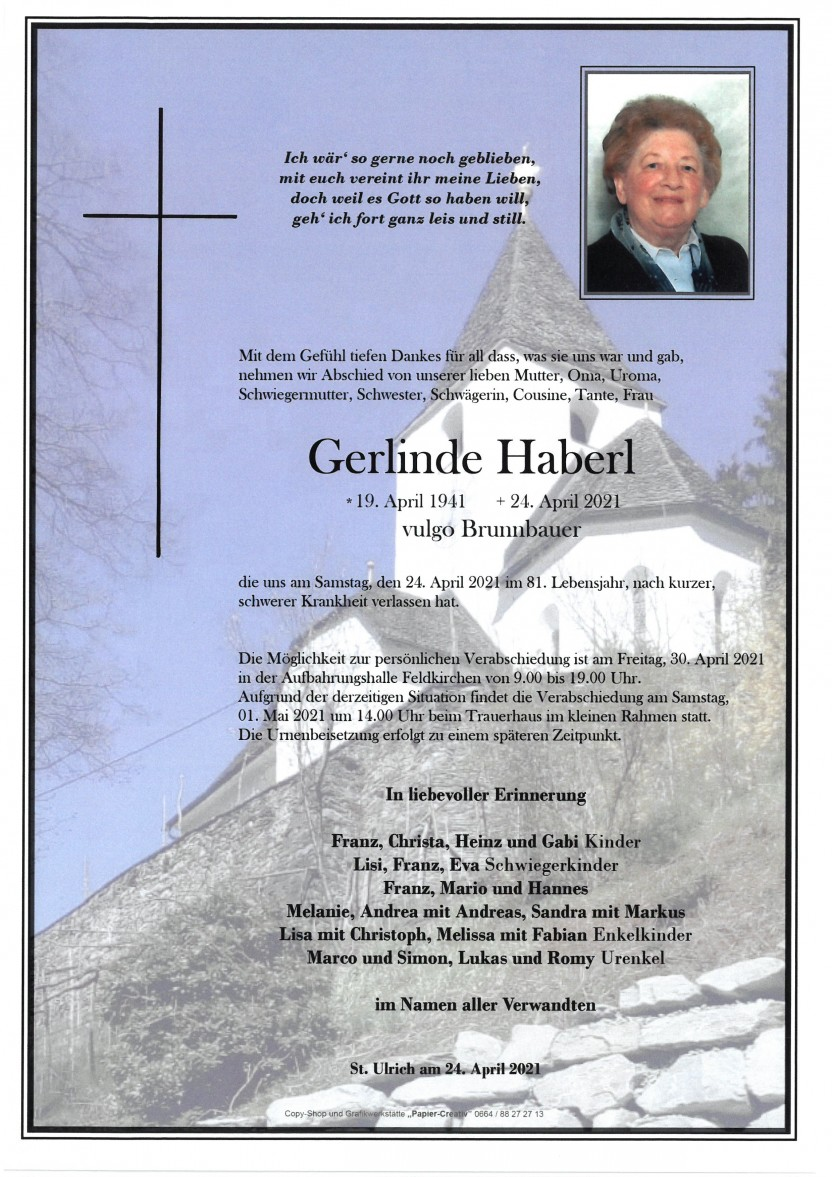 Gerlinde Haberl, gestorben am 24.04.2021