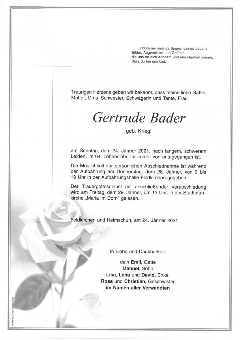 Gertrude Bader, gestorben am 24.01.2021