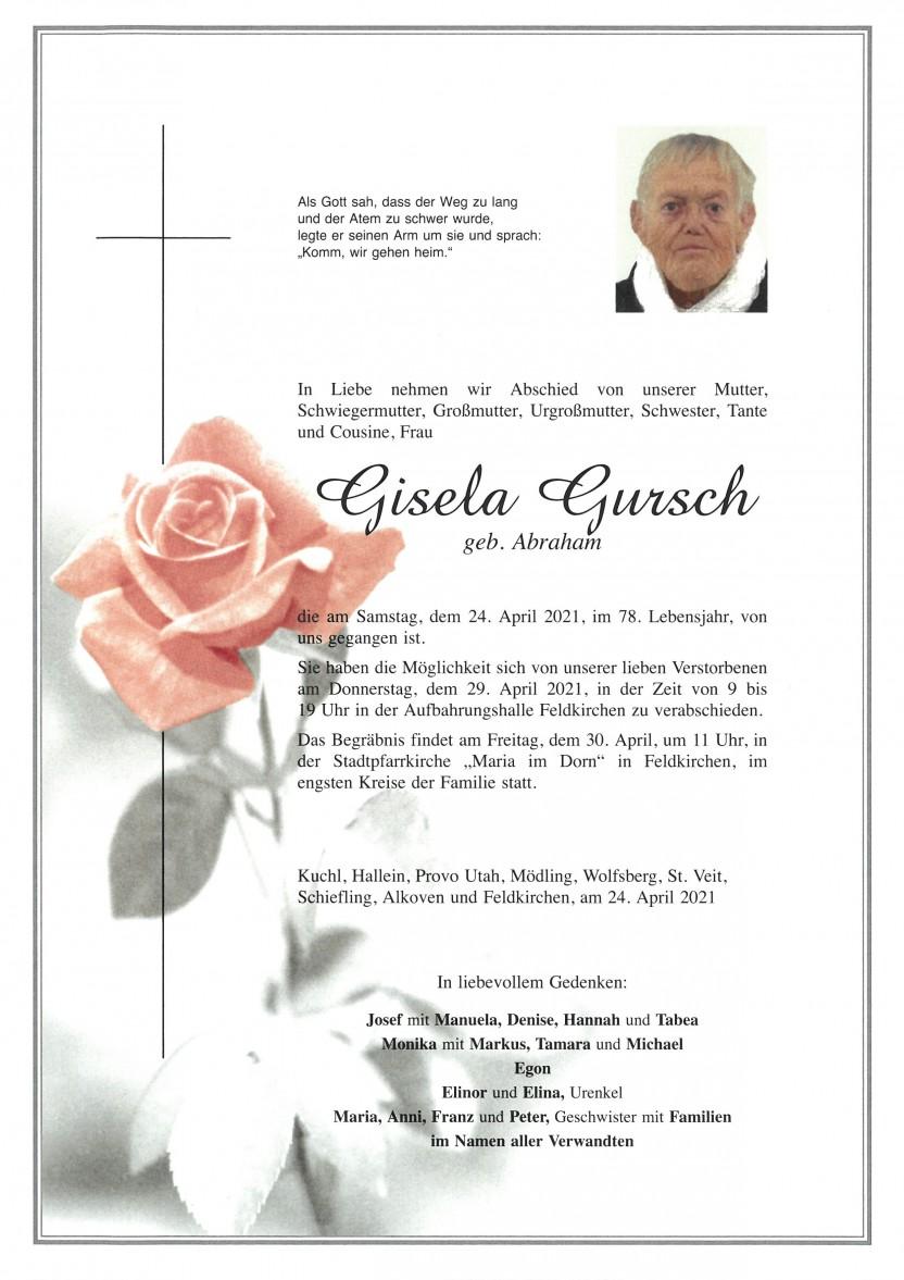 Gisela Gursch, gestorben am 24.04.2021