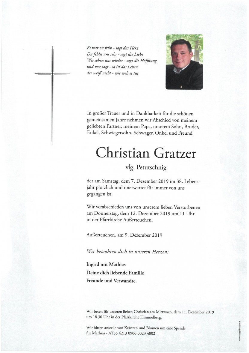 Christian Gratzer vlg. Petutschnig, gestorben am 07.12.2019