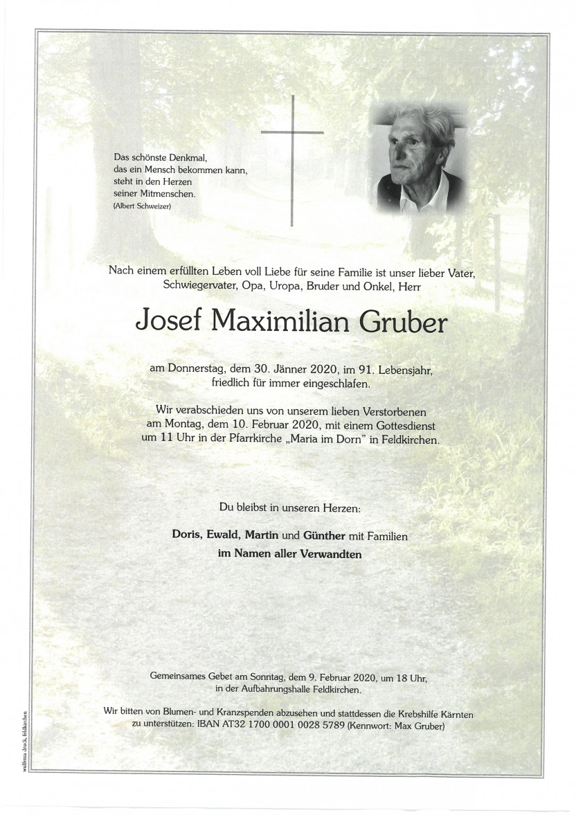 Josef Maximilian Gruber, gestorben am 30.01.2020