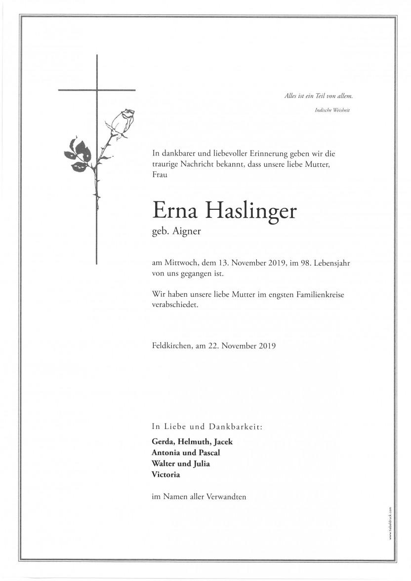 Erna Haslinger, geb. Aigner, gestorben am 13.11.2019