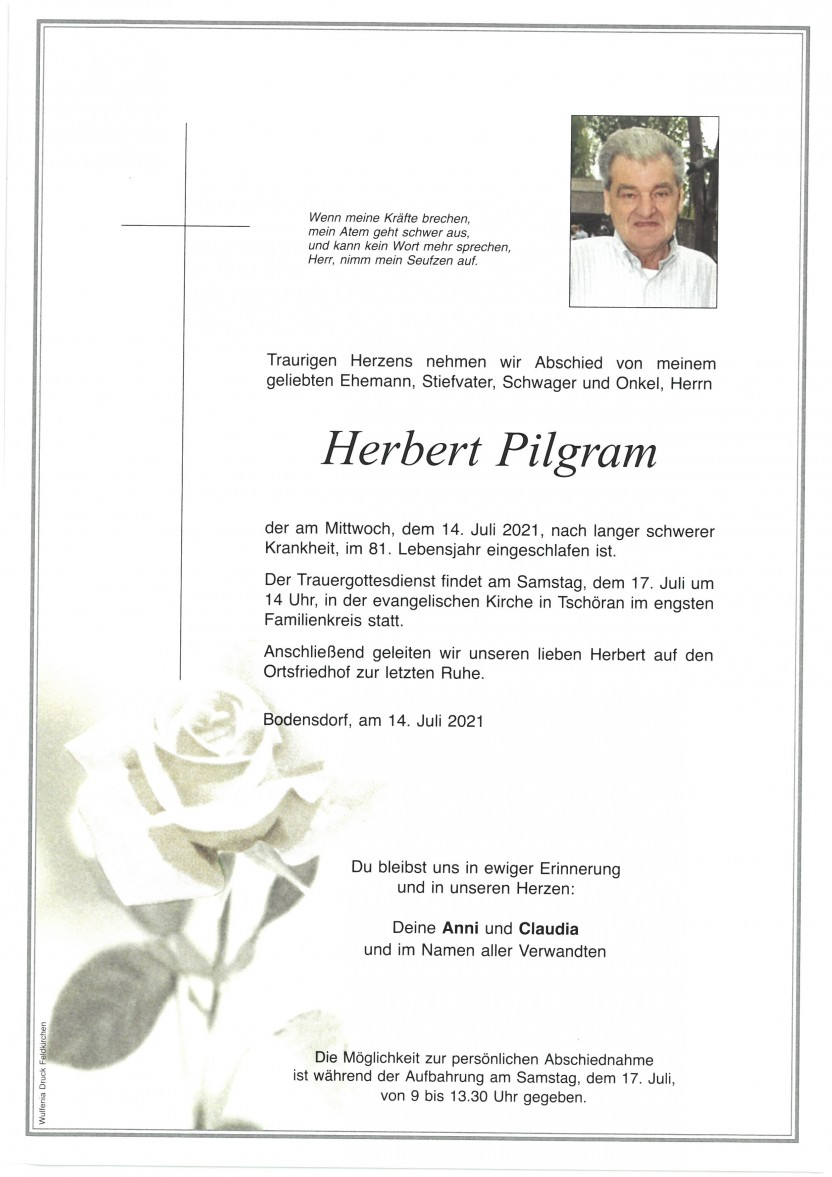 Herbert Pilgram, gestorben am 14.07.2021