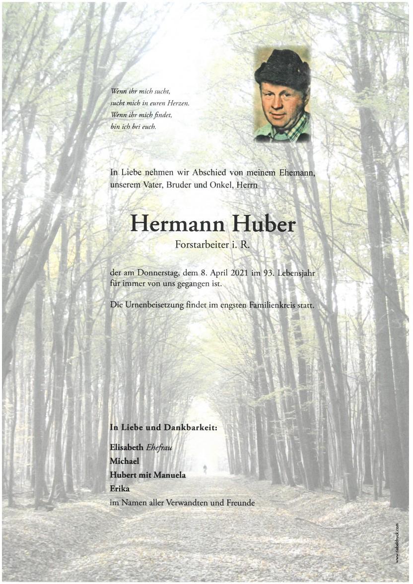 Hermann Huber, gestorben am 08.04.2021