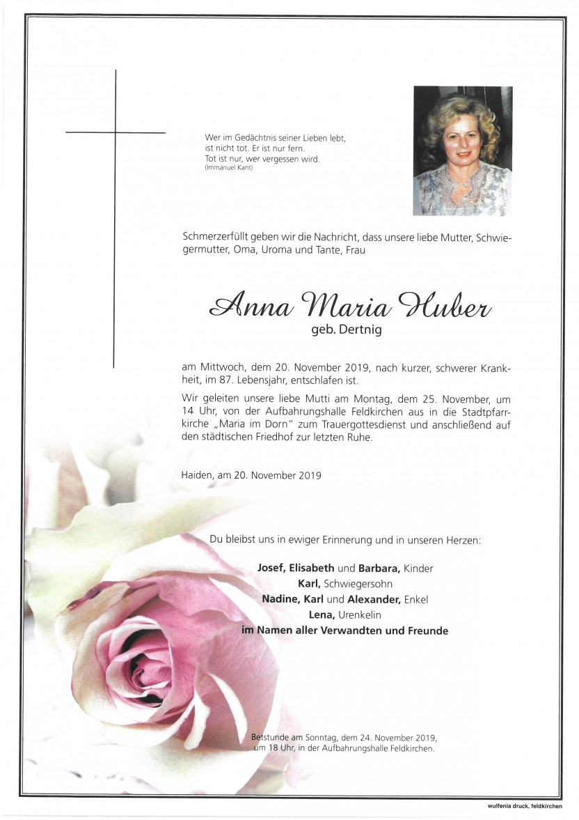 Anna Maria Huber, geb. Dertnig, gestorben am 20.11.2019