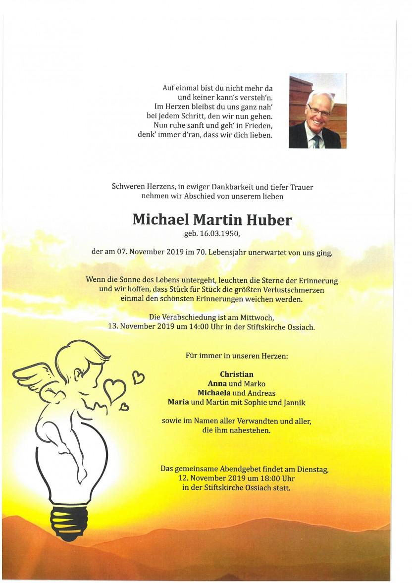 Michael Martin Huber, gestorben am 7.11.2019