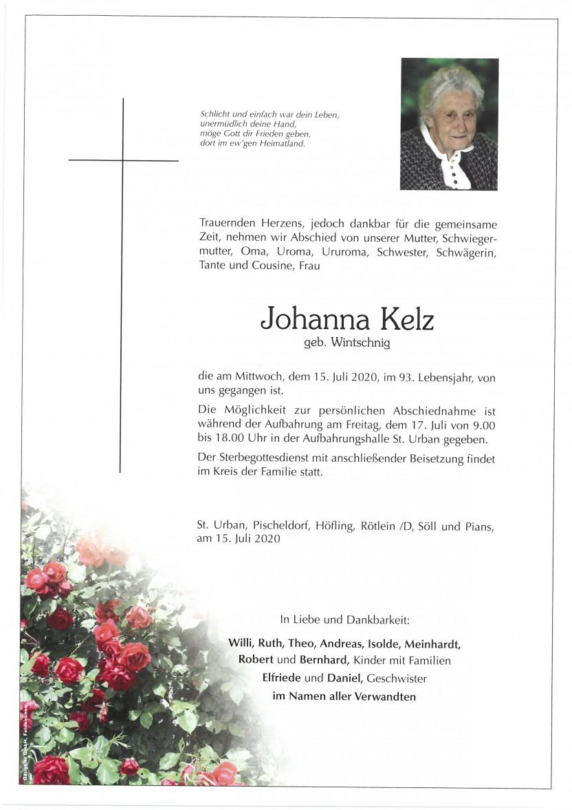 Johanna Kelz, gestorben am 15.07.2020