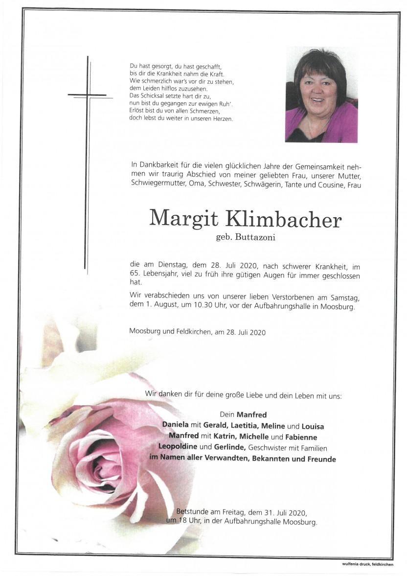 Margit Klimbacher,gestorben am 28.07.2020