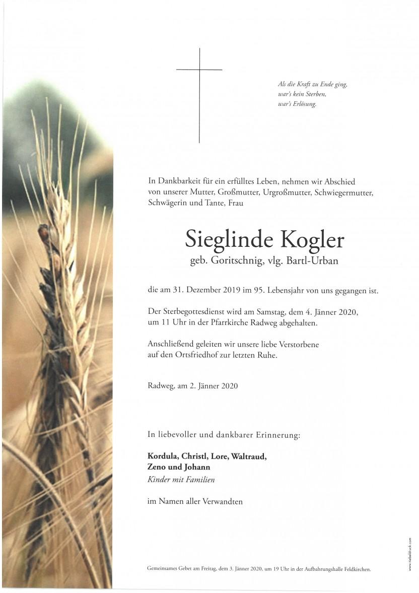 Sieglinde Kogler, vlg. Bartl-Urban gestorben am 31.12.2019