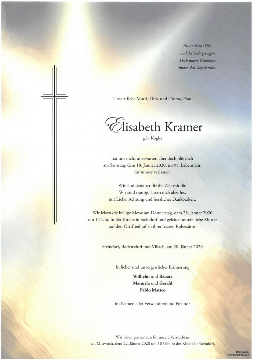 Elisabeth Kramer geb. Kögler, gestorben am 18.01.2020