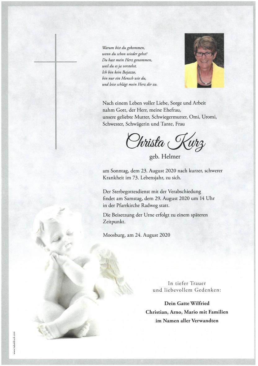 Christa Kurz, gestorben am 23.08.2020