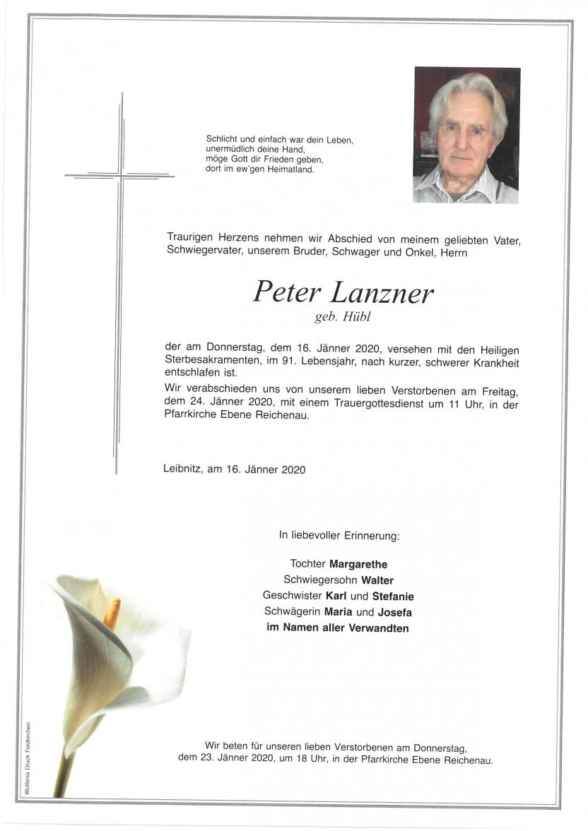 Peter Lanzner geb. Hübl, gestorben am 16.01.2020
