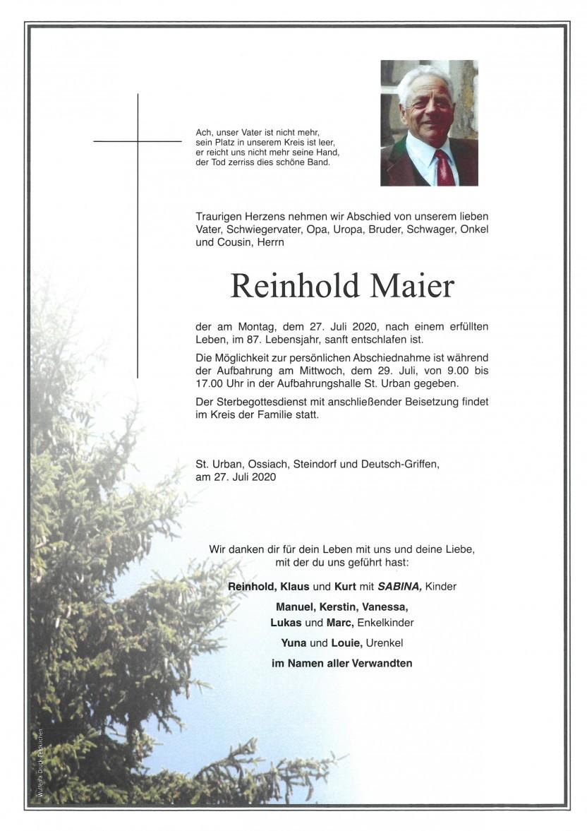 Reinhold Maier, gestorben am 27.07.2020