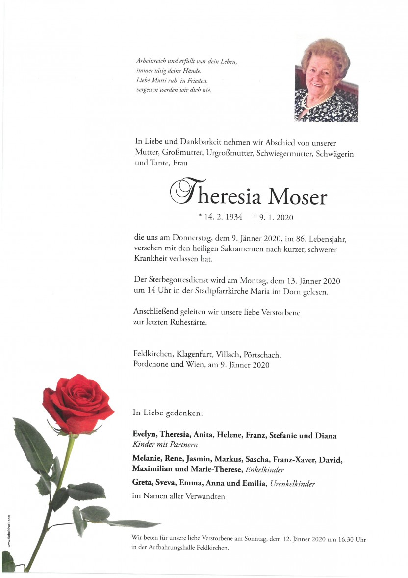 Theresia Moser, gestorben am 09.01.2020