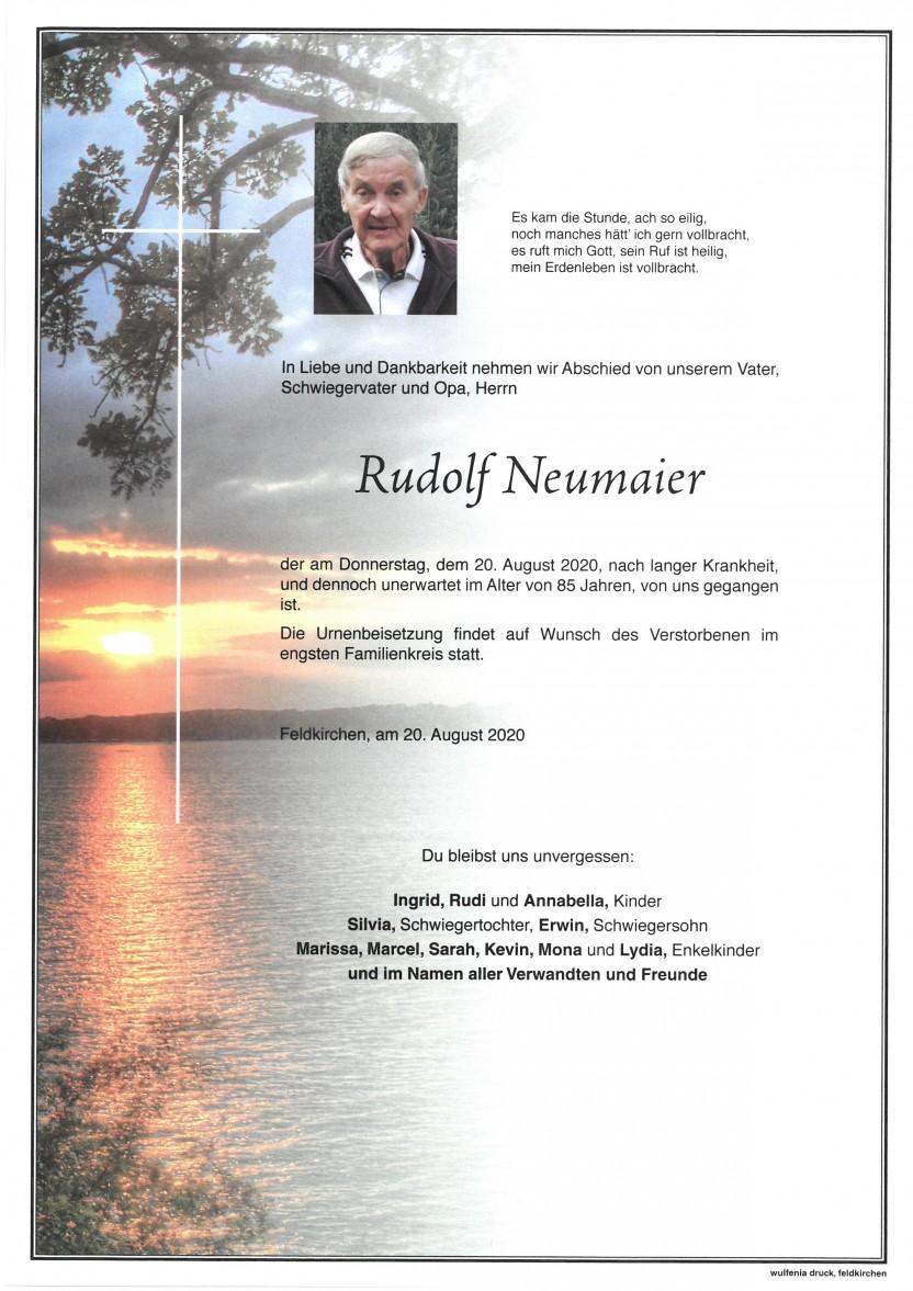 Rudolf Neumaier, gestorben am 20.08.2020