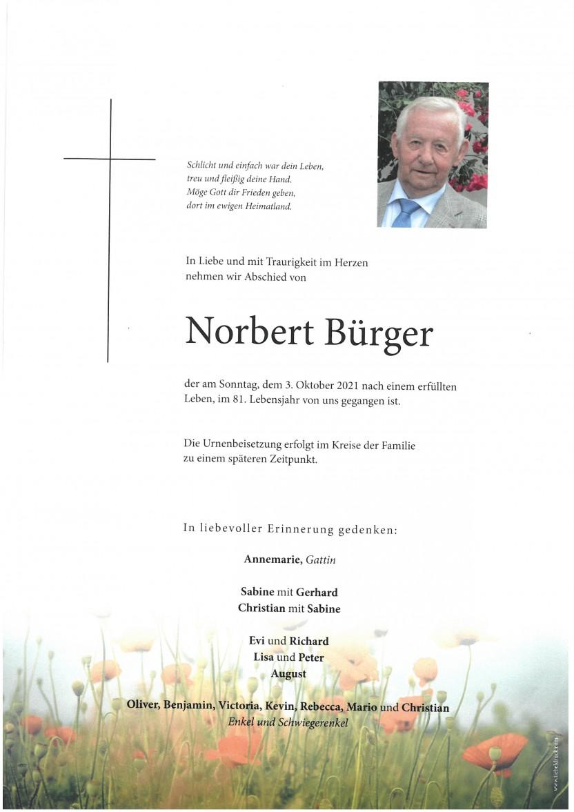 Norbert Bürger, gestorben am 03.10.2021