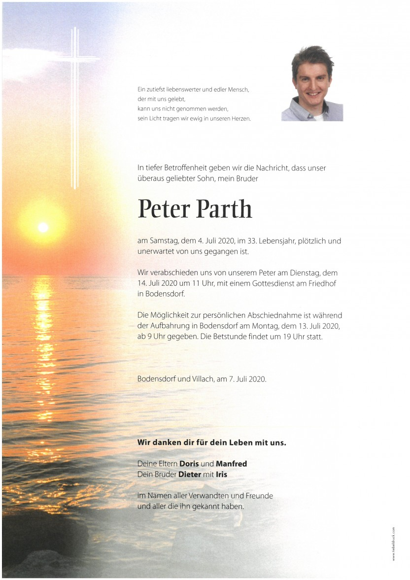 Peter Parth, gestorben am 04.07.2020