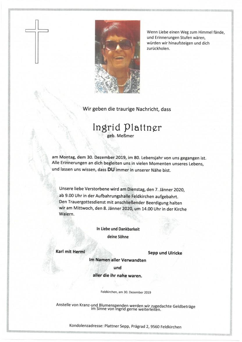 Ingrid Plattner geb. Meßmer, gestorben am 3012.2019