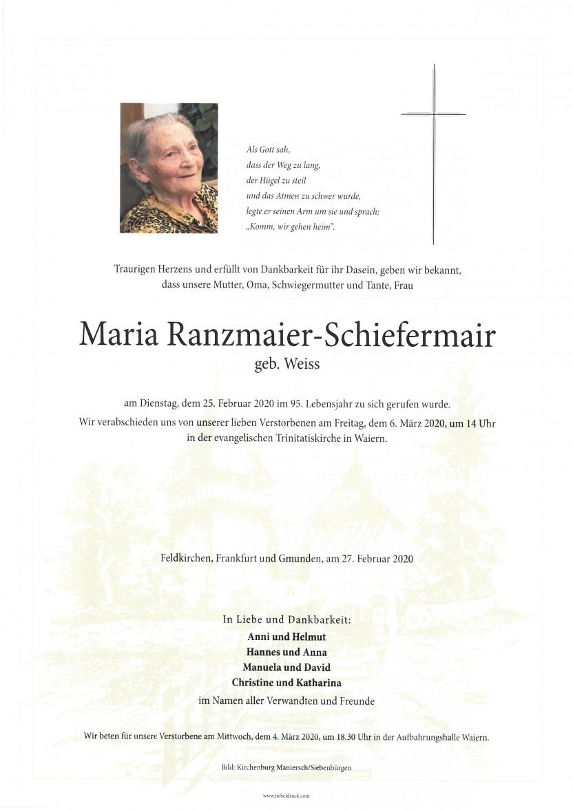 Maria Ranzmaier-Schiefermair, gestorben am 25.02.2020