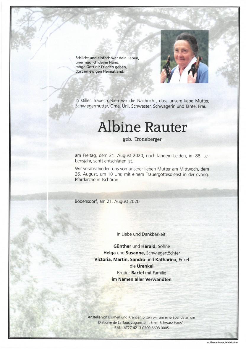 Albine Rauter, gestorben am 21.08.2020