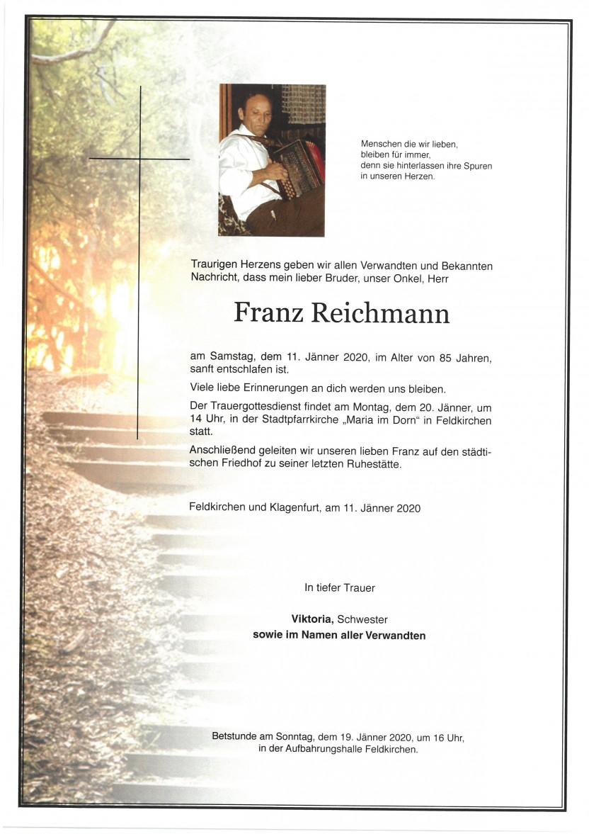 Franz Reichmann, gestorben am 11.01.2020