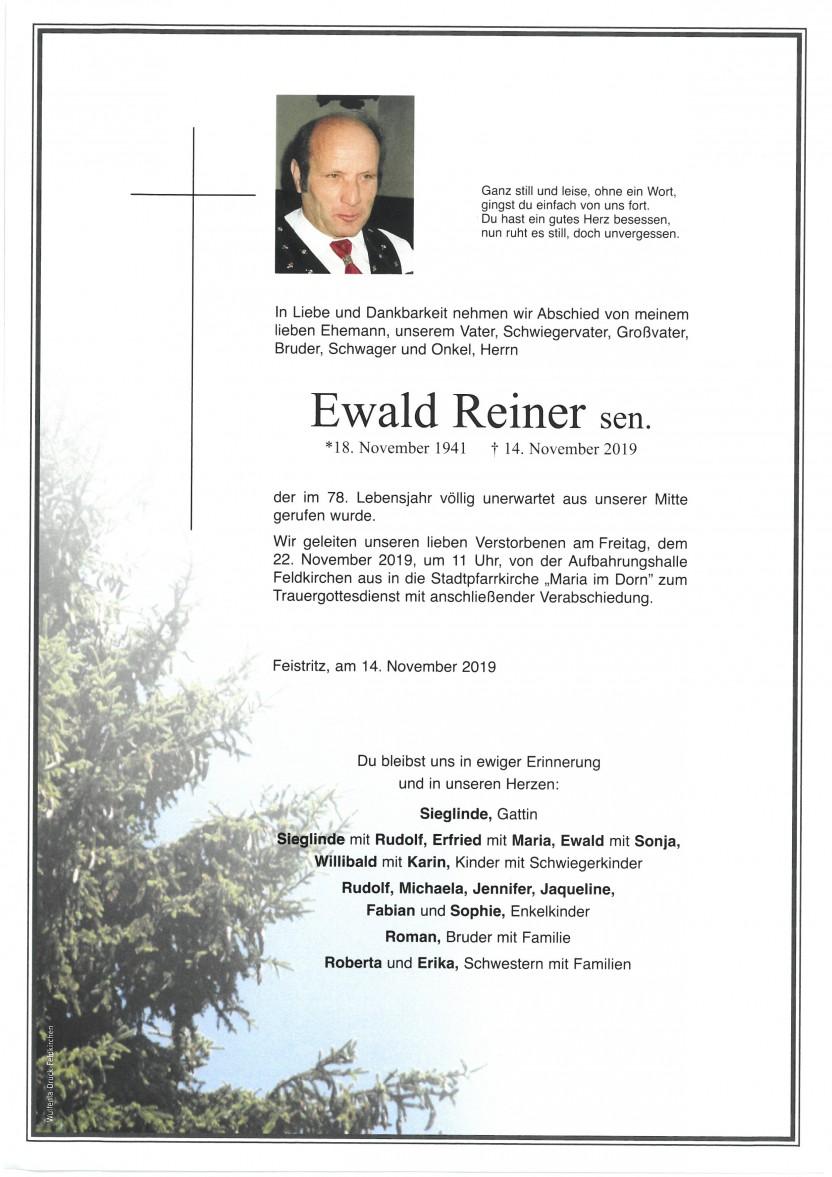 Ewald Reiner, gestorben am 14.11.2019