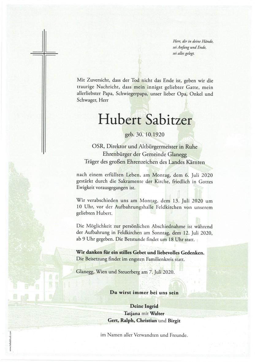 Hubert Sabitzer, Altbgm. i.R., gestorben am 06.07.2020