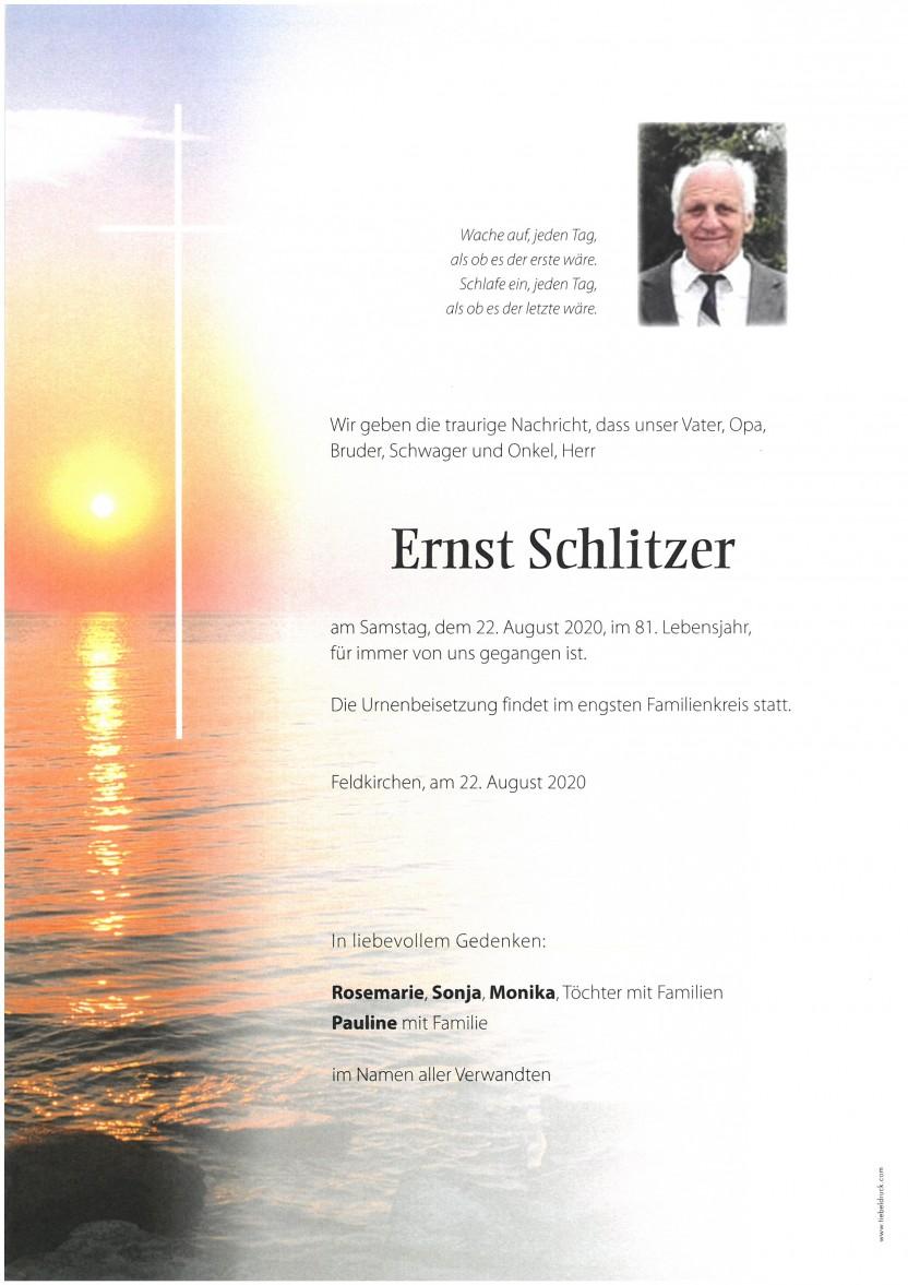 Ernst Schlitzer, gestorben am 22.08.2020