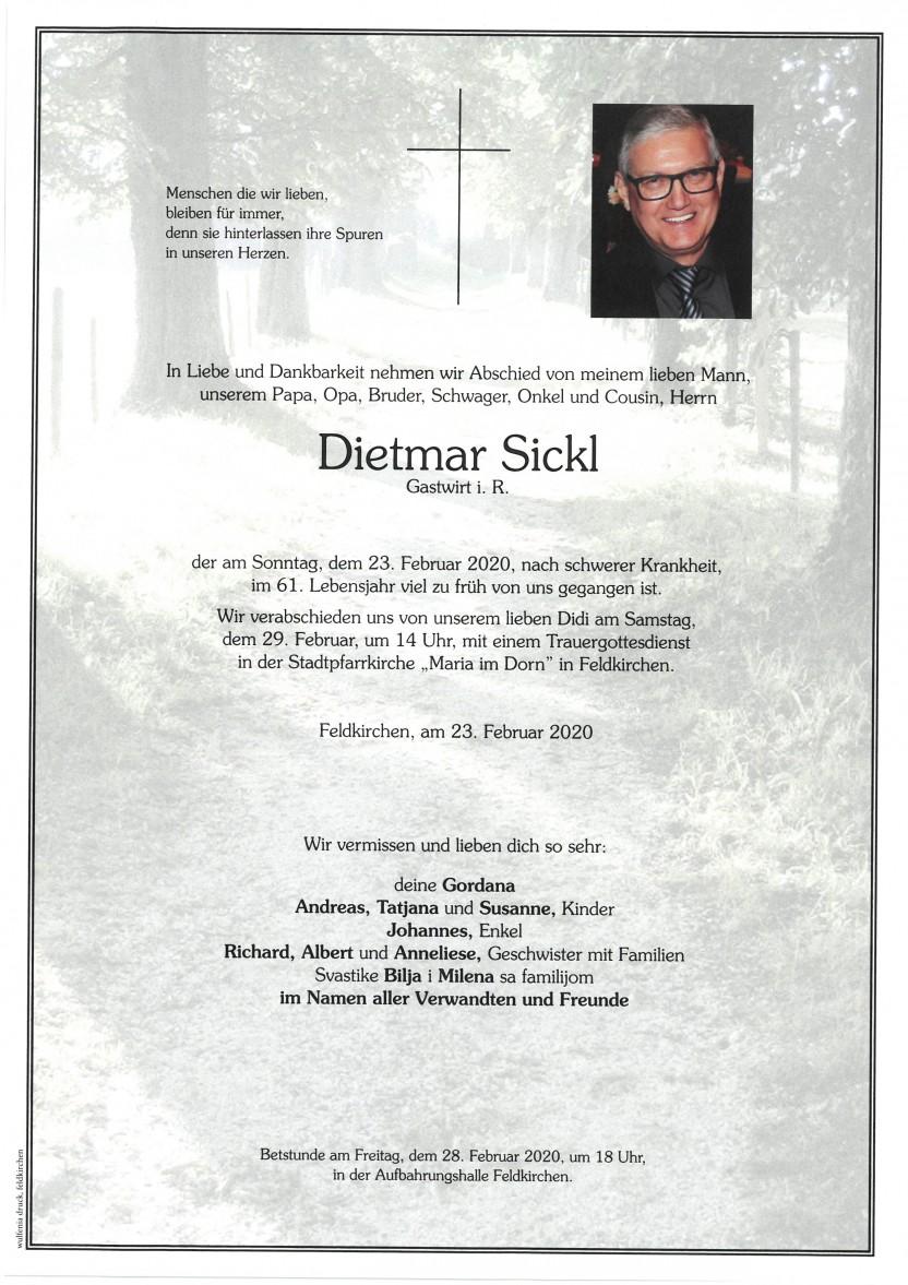 Dietmar Sickl, Gastwirt i.R., gestorben am 23.02.2020