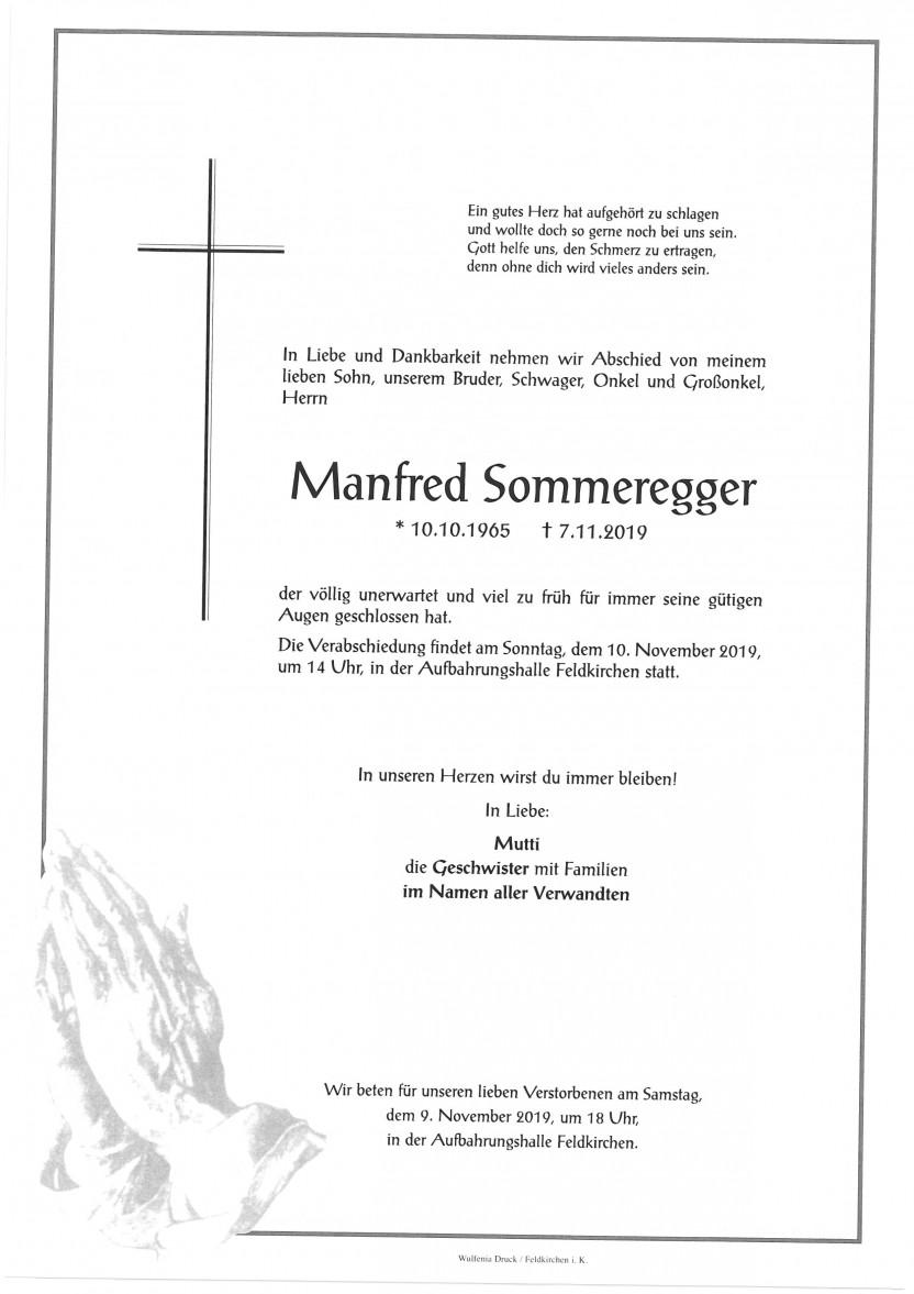 Manfred Sommeregger, gestorben am 7.11.2019