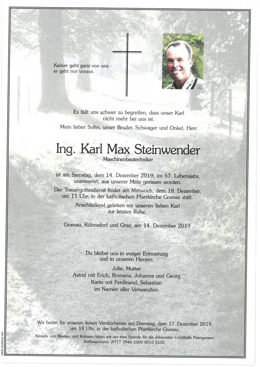 Ing. Karl Max Steinwender, gestorben am 14.12.2019