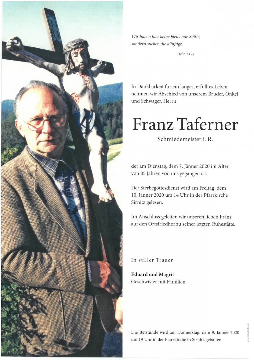 Franz Taferner, Schmiedemeister i.R., gestorben am 07.01.2020
