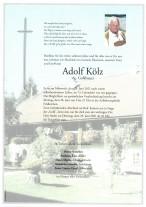 Adolf Kölz, gestorben am 23.06.2021