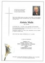 Aloisia Malle, gestorben am 11.07.2021