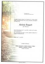Aloisia Regart, gestorben am 17.06.2021