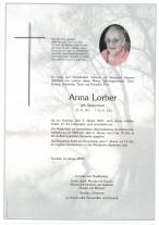 Anna Lorber, gestorben am 03.01.2021