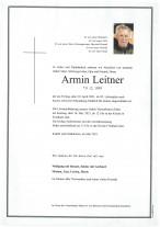 Armin Leitner, gestorben am 30.04.2021