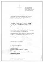 Maria Magdalena Artl, geb. Kratki, gestorben am 25.11.2019