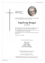 Ingeborg Berger, gestorben am 19.07.2020