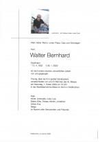 Walter Bernhard, Kaufmann, gestorben am 26.01.2020
